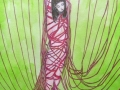 "Serie ""Das rote Seil"" Kinoko. Aquarell und Polychromos auf Hahnemühlen Papier. A3"