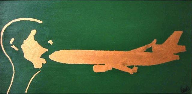 MD11 Projekt Bild nr: 18 . 80 x 40  Kopfabdruck, acryl auf Leinwand.