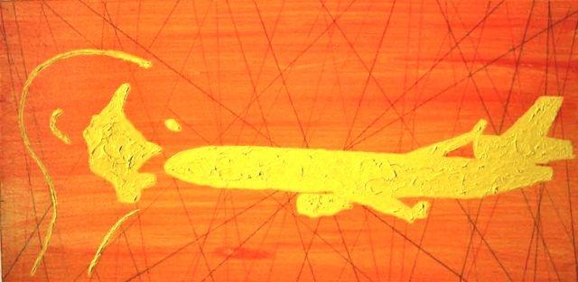 MD11 Projekt Bild nr: 21 . 80 x 40  Kopfabdruck, acryl auf Leinwand.