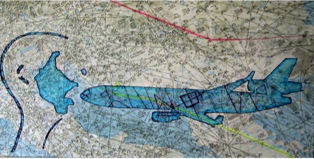 MD11 Projekt Bild nr: 31. Kopfabdruck, acryl auf Leinwand. 80 x 40.