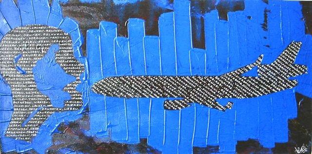 MD11 Projekt Bild nr: 6 . 80 x 40  Kopfabdruck, acryl auf Leinwand.