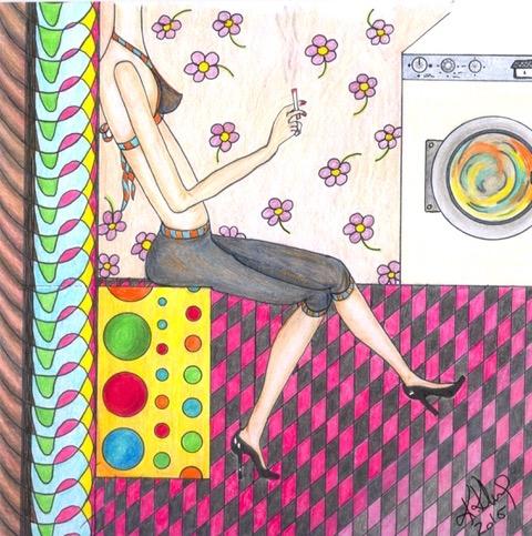 """Ausstellung """"Sex"""" in München. 2017. 30x 30. Polychromos und Tusche.Nr: 4"""